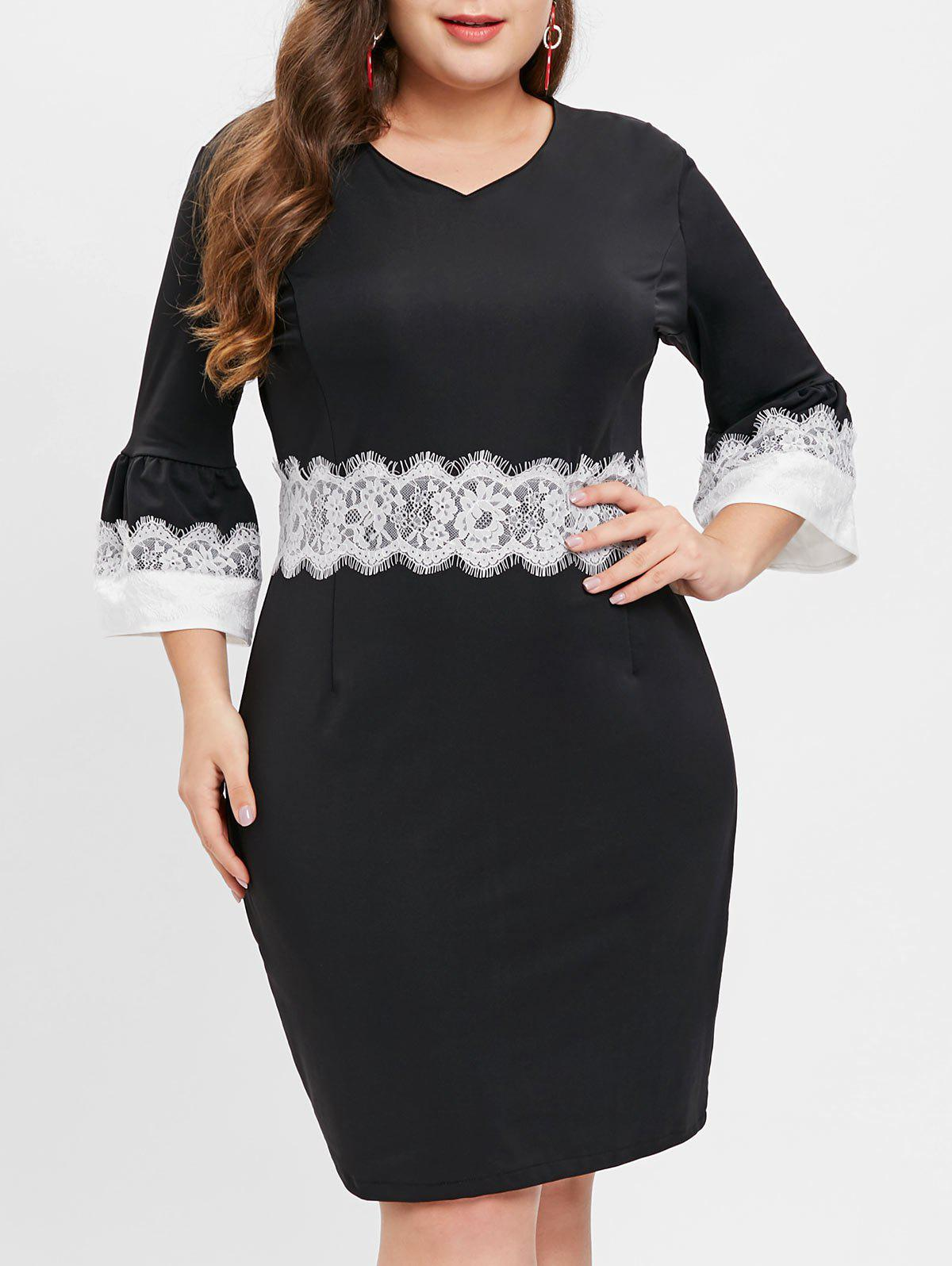 Online Plus Size Long Sleeves Contrast Sheath Dress with Lace