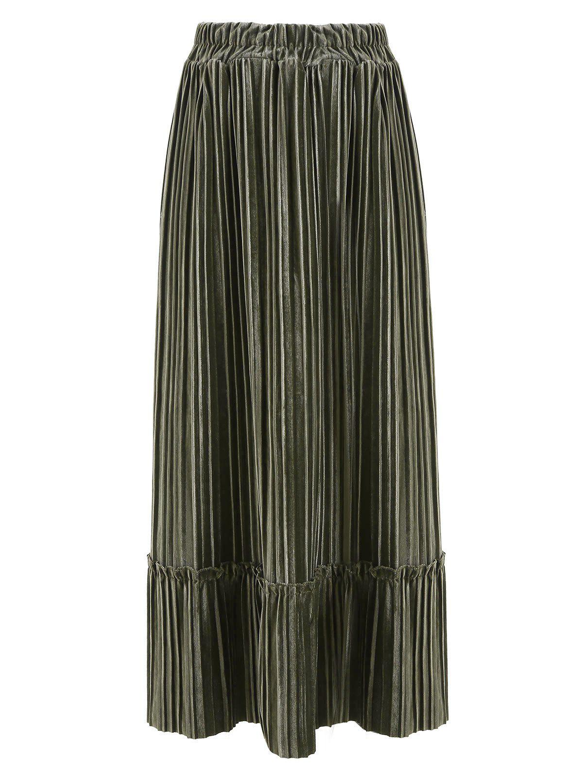 Outfit Pleated Velour Midi Skirt