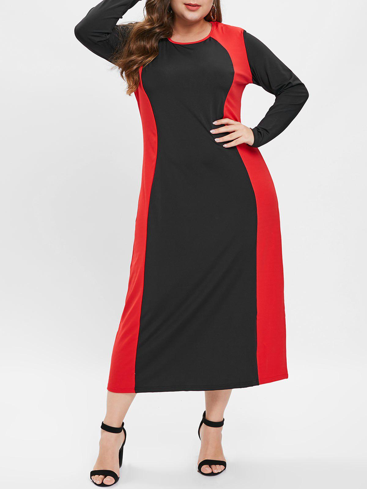 Trendy Plus Size Long Sleeves Contrast Bodycon Dress