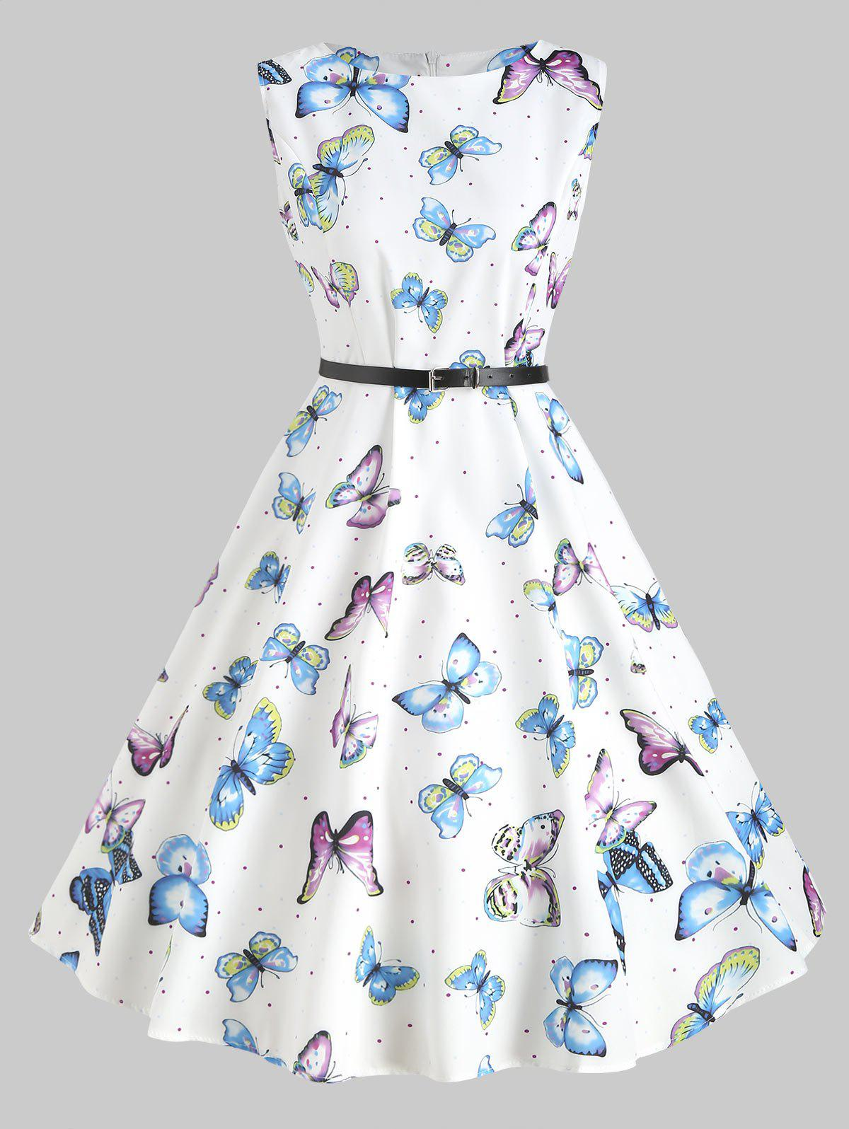 e777e9616818 2019 Butterfly Print Vintage Swing Dress
