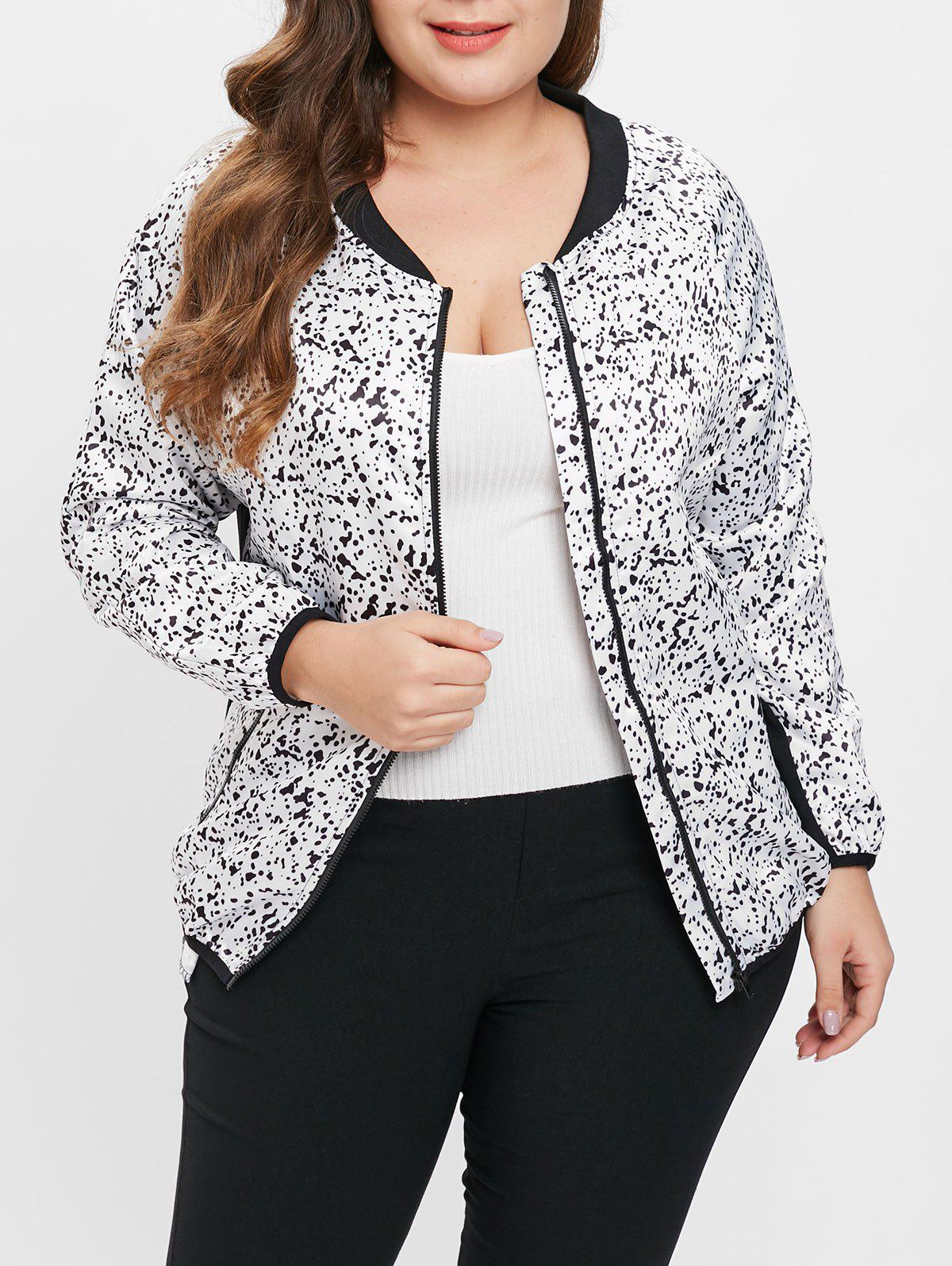 Latest Plus Size Abstract Print Zip Up Jacket