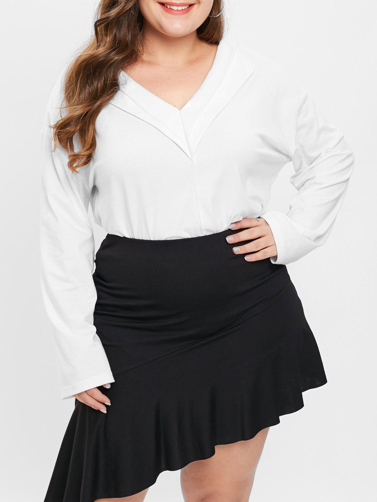 New Plus Size V Neck Long Sleeves Top
