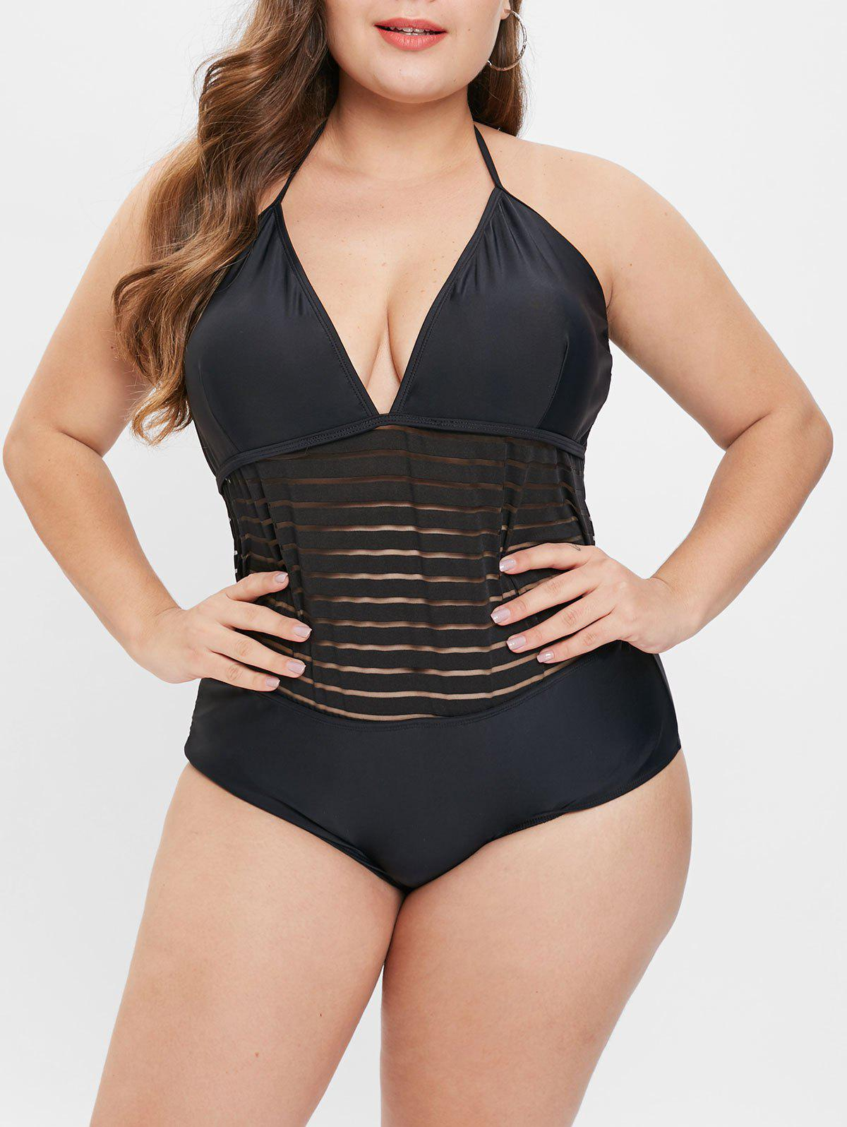 Outfit See Through Plus Size Mesh Panel Swimwear