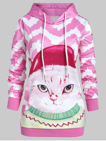 Plus Size Pullover 3D Graphic Hoodie with Pocket - PINK - 4X