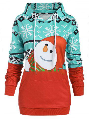 Plus Size Christma Front Pocket Pullover Graphic Hoodie