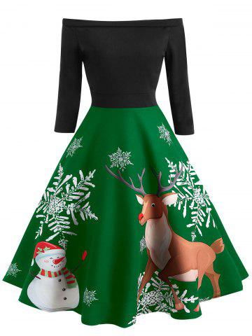 Off The Shoulder Christmas Elk Print Dress