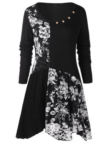 Plus Size Long Sleeves Buttons Longline Floral Top