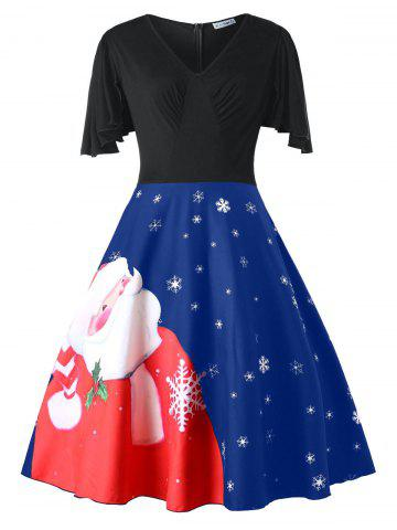 Plus Size Santa Claus Print Christmas Pin Up Dress - BLUEBERRY BLUE - L