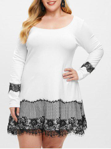 Plus Size Lace Insert Mini T-shirt Dress