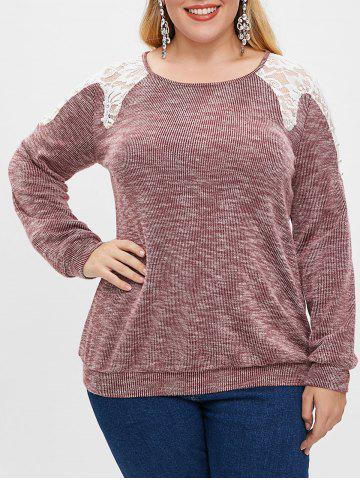 Plus Size Lace Spliced Boat Neck Beaded Long Sleeves Top