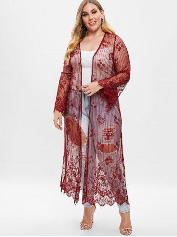 94f6fc6981dbe Plus Size Longline Lace Coat