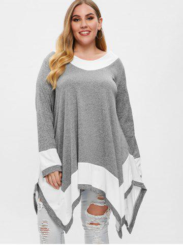 Plus Size Long Sleeve Handkerchief Tunic Top