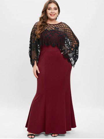 Mermaid Plus Size Dress Prom Black Lace And Long Sleeve Cheap