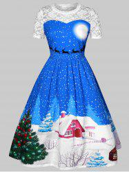 Plus Size Lace Insert Printed Christmas Dress -