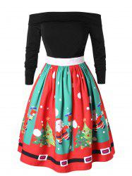 Plus Size Off Shoulder Santa Claus Christmas Flare Dress -