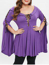 Bell Sleeve Lace Up Plus Size T-shirt -