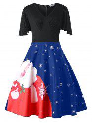 Plus Size Santa Claus Print Christmas Pin Up Dress -