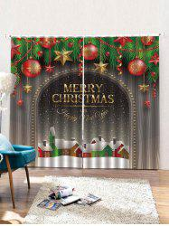 Christmas Wooden Pattern 2PCS Window Curtains -