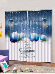 2PCS Iron Gate and Christmas Ball Printed Window Curtains -