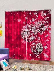 Christmas Snowflake Balls Print 2 Panels Window Curtains -