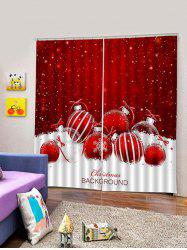 2 Panels Christmas Balls Snowflake Print Window Curtains -