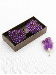 Faux Leather Feather Bow tie Brooch Set -