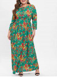 Plus Size High Waisted Floral Maxi Dress -
