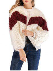 Zip Up Faux Fluffy Coat -