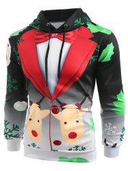 Christmas Faux Suit Print Pullover Hoodie -