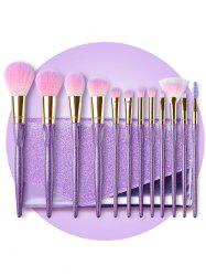 12 Pcs Glitter Handle Soft Hair Makeup Brush Set with Bag -
