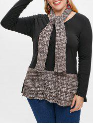 V Neck Plus Size Color Block T-shirt with Scarf -