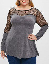 Long Sleeve Plus Size Fishnet Panel Tunic Tee -