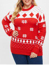 Christmas Geometric Snowflake Plus Size Sweater -