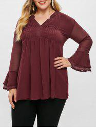 Plus Size Chiffon Overlay Pleated Flare Sleeve Blouse -