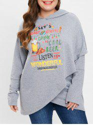 Christmas Pattern Asymmetrical Plus Size Hoodie -