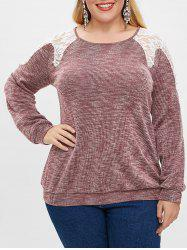 Plus Size Lace Spliced Boat Neck Beaded Long Sleeves Top -