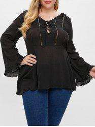 Plus Size Lace Up Flare Blouse -