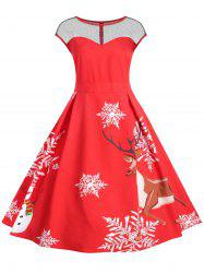 Plus Size Vintage Christmas Flare Dress with Lace -
