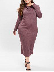 Cowl Neck Plus Size Midi Dress -