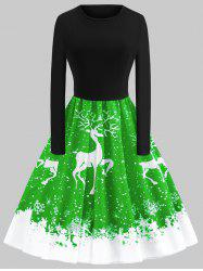 Plus Size Vintage Christmas Elk Printed Flare Dress -