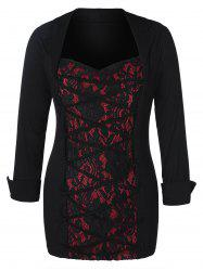 Sweetheart Neck Lace Panel Criss Cross Plus Size Top -