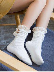 Stylish Buttons Lace Knitted Socks -
