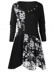 Plus Size Long Sleeves Buttons Longline Floral Top -