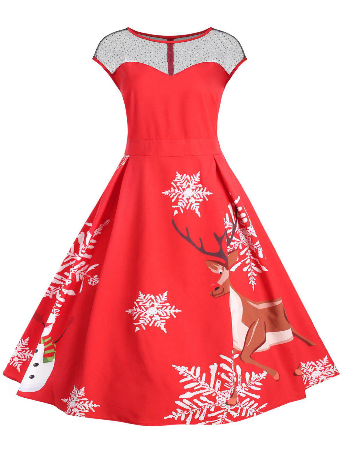 5293bd3b175 2019 Plus Size Vintage Christmas Flare Dress With Lace