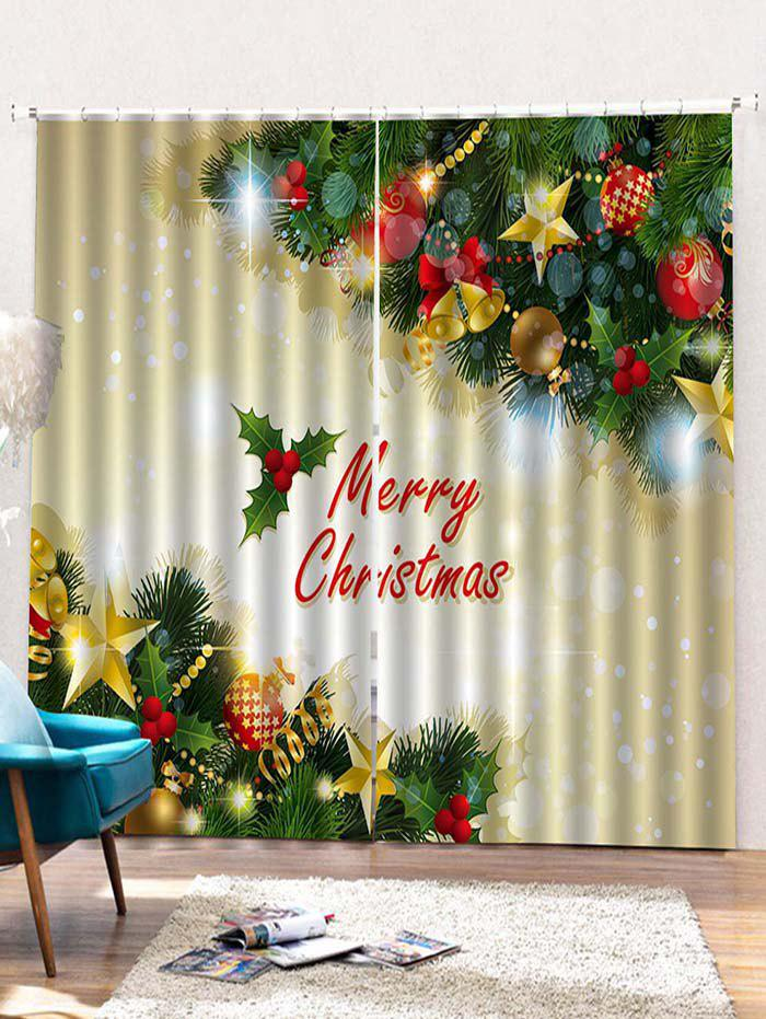 Latest Christmas Ball Tree Printed 2PCS Window Curtains