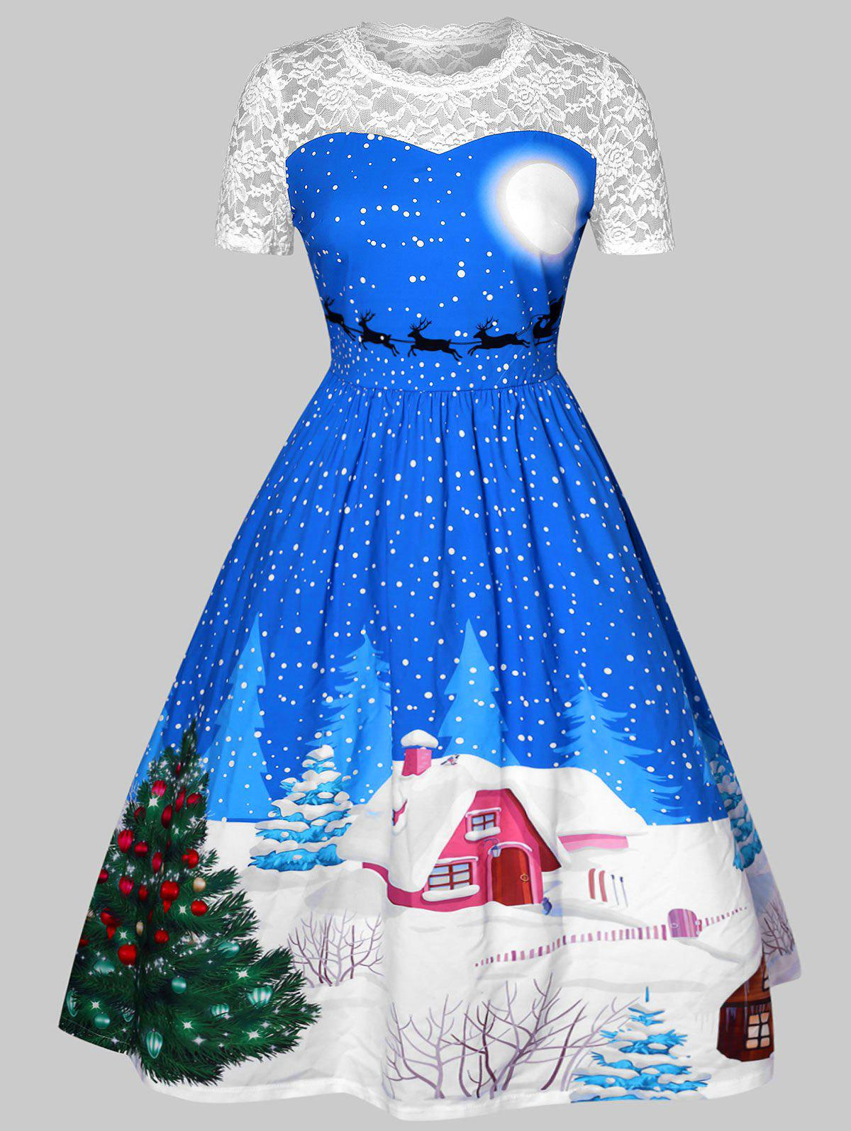 Hot Plus Size Lace Insert Printed Christmas Dress