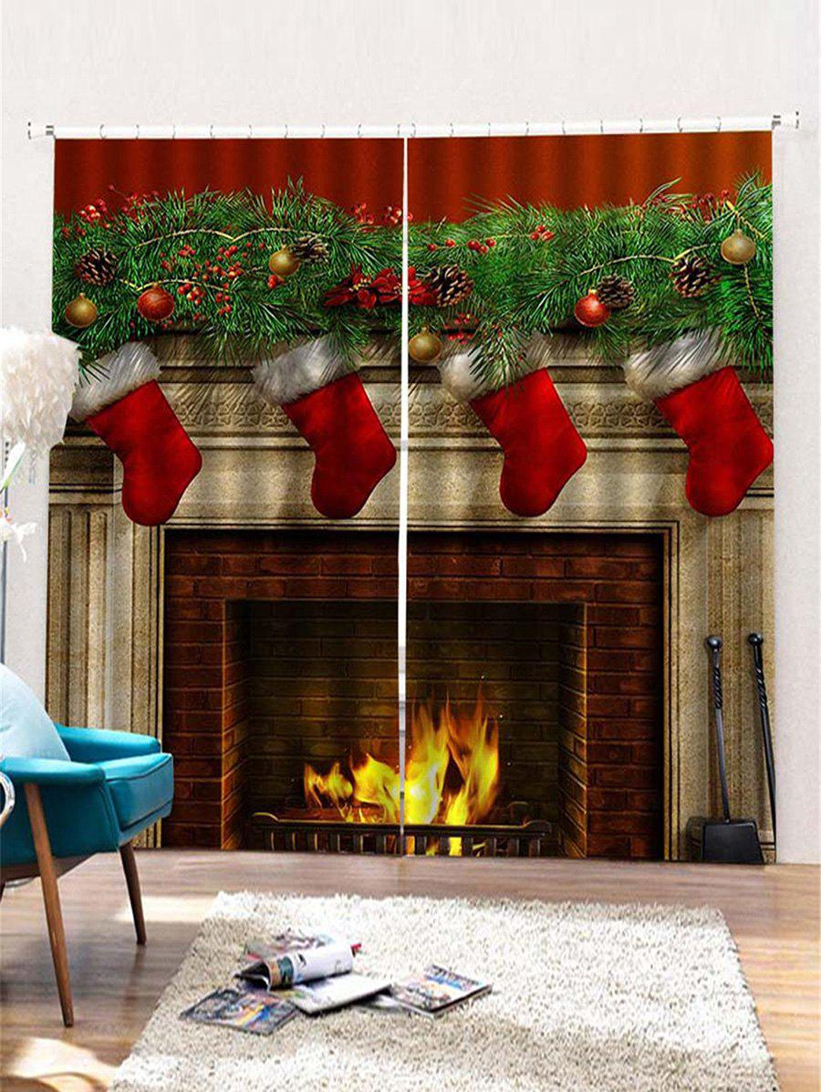 Outfits Christmas Fireplace Pattern 2PCS Window Curtains