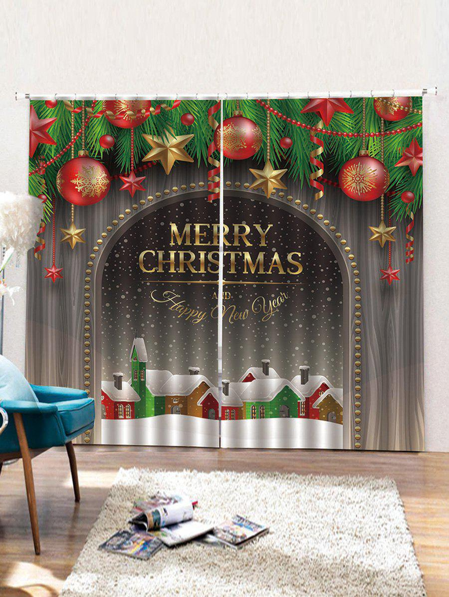 Fancy Christmas Wooden Pattern 2PCS Window Curtains