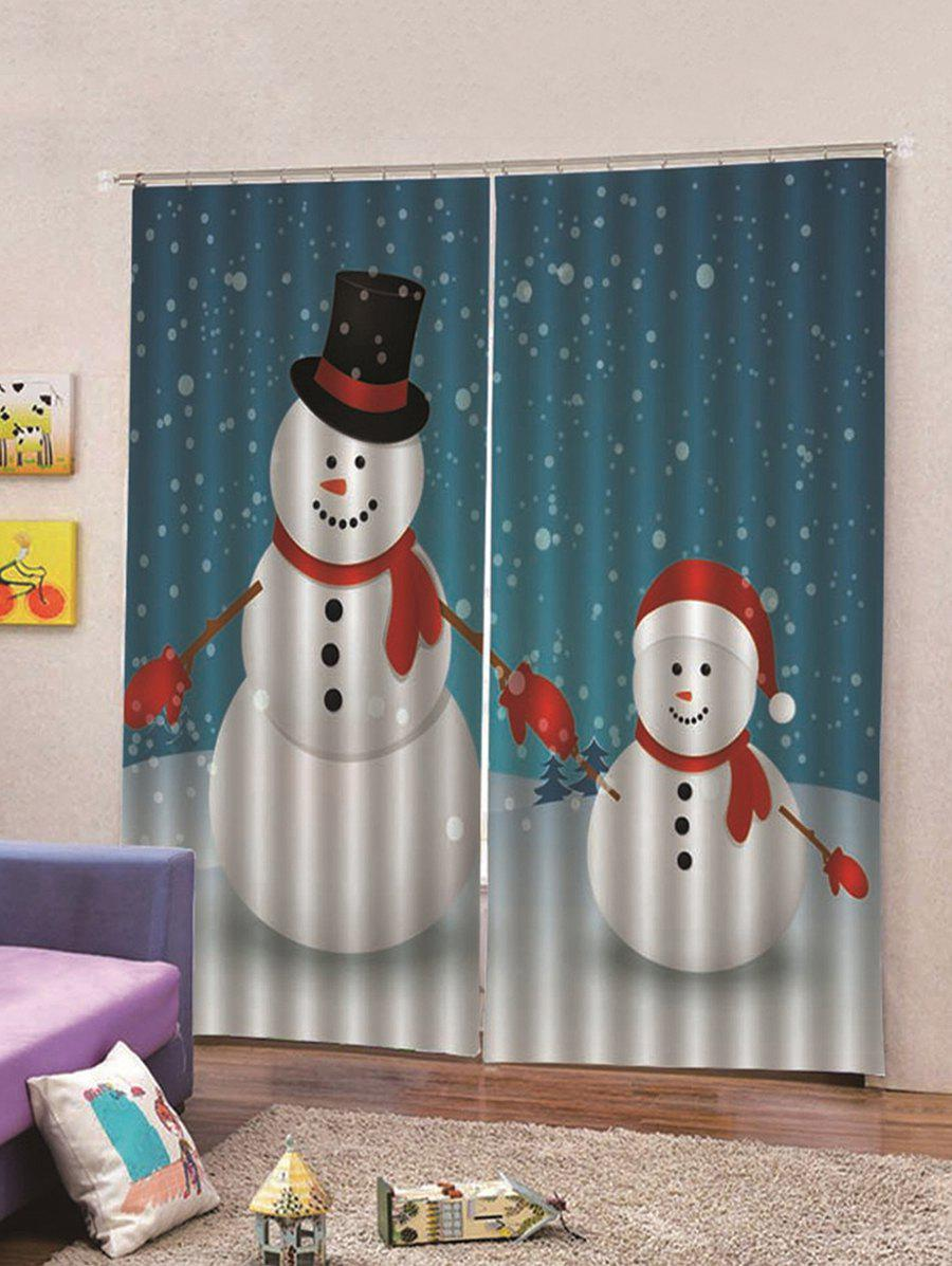 Discount 2 Panels Christmas Snowmen Print Window Curtains