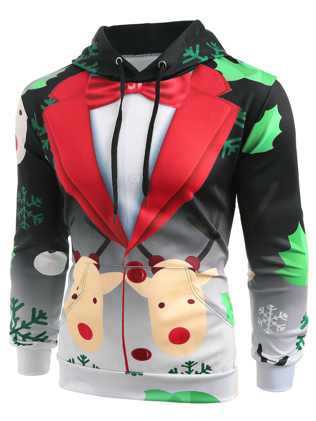 Affordable Christmas Faux Suit Print Pullover Hoodie